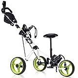 Tangkula Golf Push Cart, Foldable 3 Wheels Push Pull Cart, Lockable Golf Trolley with Seat Scoreboard Bag,Golf Push Cart (Green)